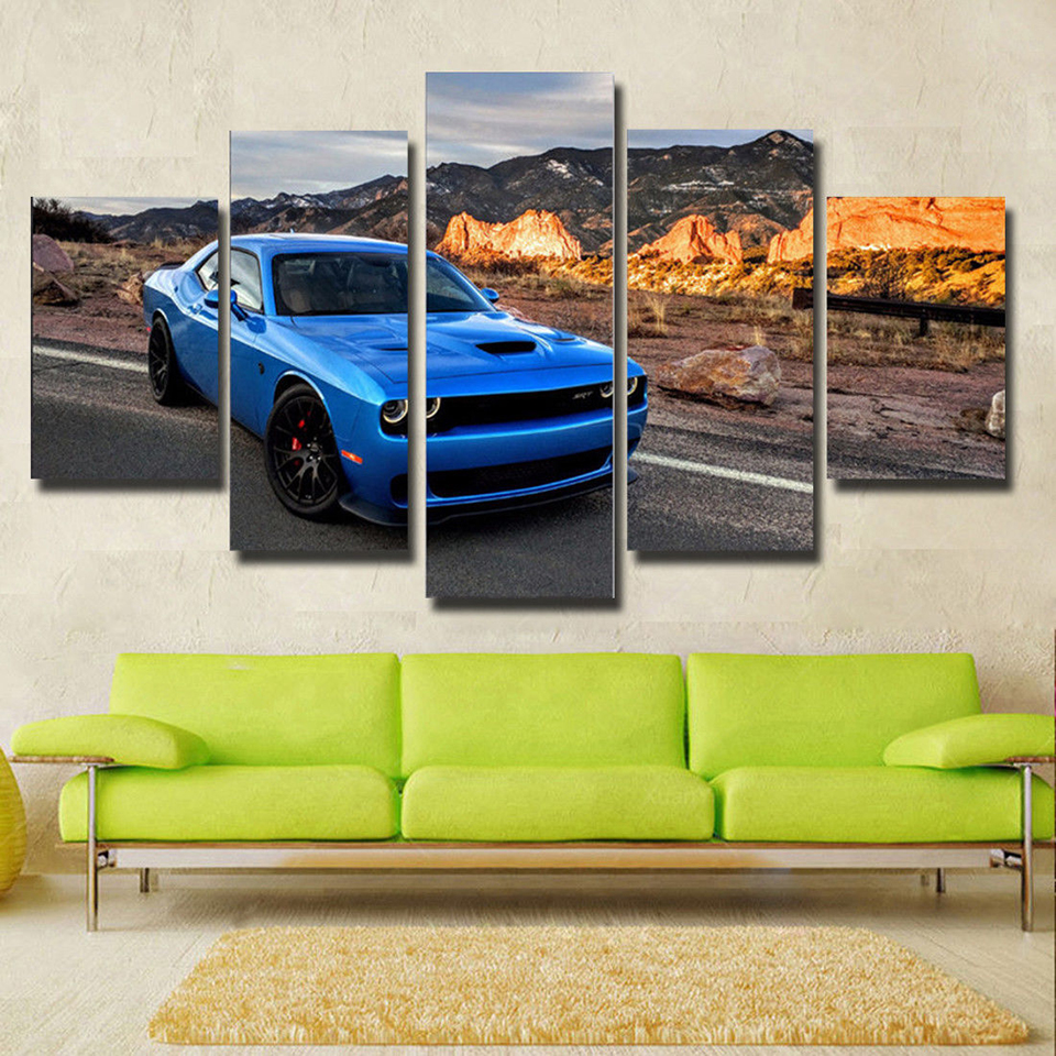 Canvas HD Framework Wall Art Poster Home Decoration Modern 5 Panel Blue Sports Car Living Room Print Painting Modular Pictures