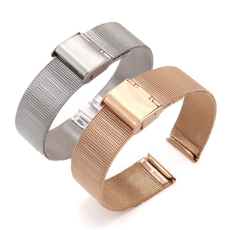 HENGRC 16 18 20 22 24mm Watch Band Strap Stainless Steel Women Watchbands Silver Black Metal Bracelet Double Clasp Accessories solid stainless steel watch strap band 18 20 22 24mm silver rose gold black men women metal bracelet link watchbands accessories