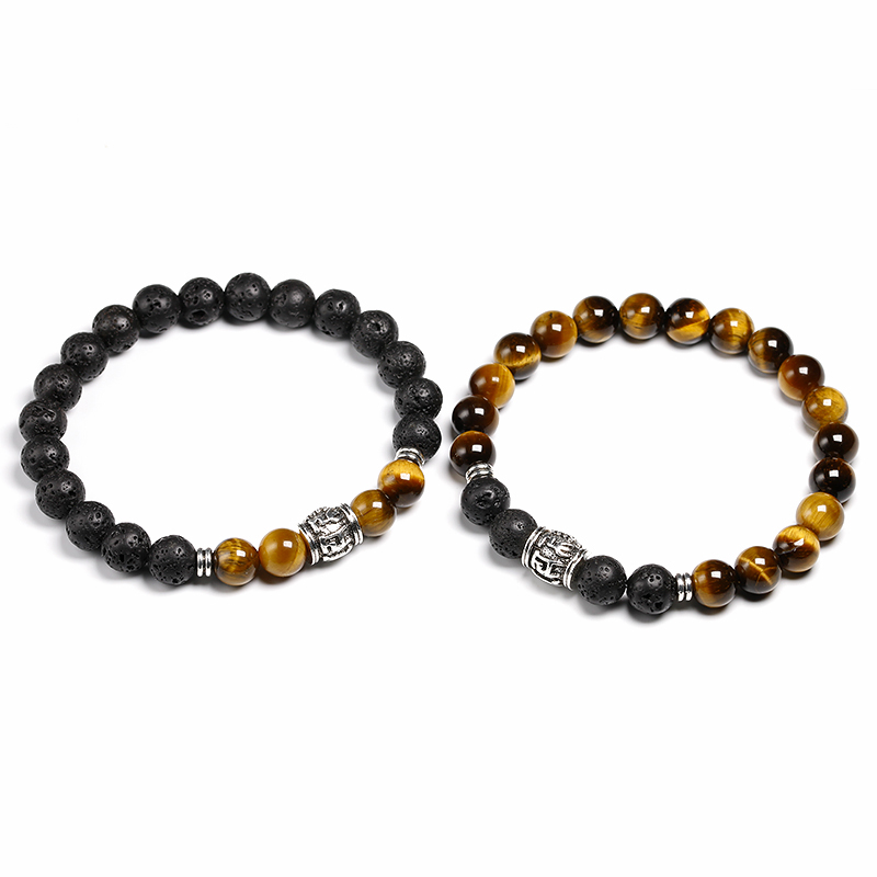 Men Bracelet Natural Tiger Eye Bead Tibetan Buddha Bracelet chakra Lava Stone Diffuser Bracelets Men Jewelry Gift Drop Shipping