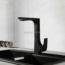 New Arrival Modern One Hole 360 Dergee Swivel Gooseneck Mixer Tap Spout Single Handle Square High Profile Bar Kitchen Faucet