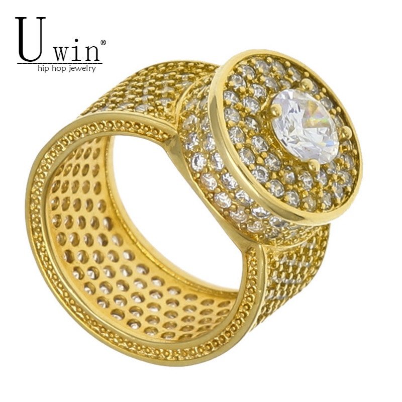UWIN NEW Rock Hip Hop Ring For Men Silver Iced Out Bling AAA Zircon Rhinestone Crystal Copper Rings Fashion Punk Jewelry uwin iced out aaa zircon cross pendant copper material bling cz men s hip hop pendant necklace for women fashion hiphop jewelry