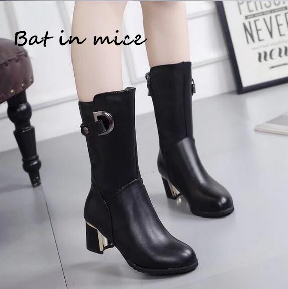 Frauen Schnee Stiefel PU Leathe high heels Winter Warme Schuhe frauen zipper Casual Mid-Kalb Stiefel Stiefel mujer frau plus size35-40 W244