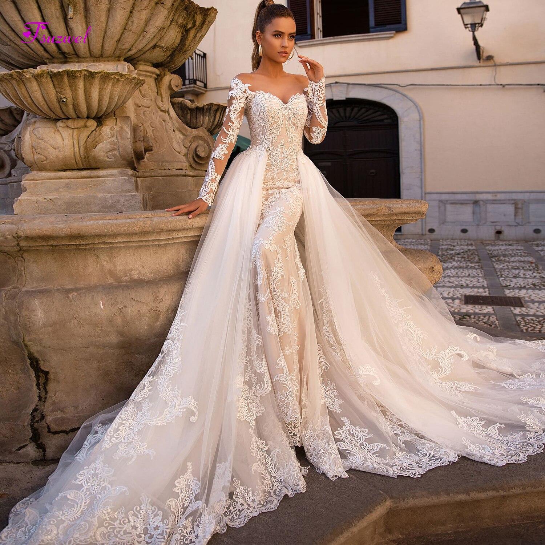 Fsuzwel Gorgeous Appliques Detachable Train Mermaid Wedding Dress 2019 New Arrival Boat Neck Long Sleeves Bridal Gown Plus Size