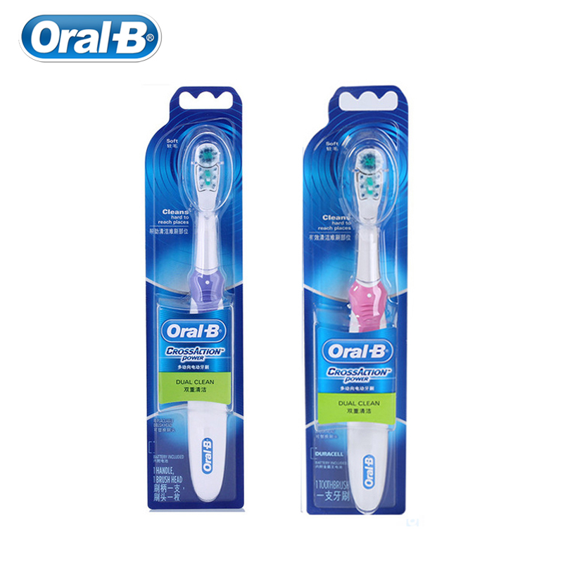 Oral B Cross Action Electric Toothbrush Dual Clean Teeth Battery Powered Adult Tooth Brush Dual Clean Function Brush Heads image
