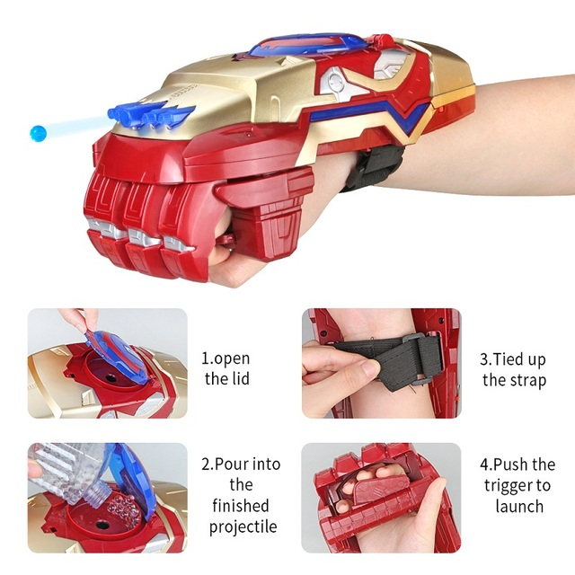 Steel Wrist Arm Crystal Bomb Plastic Water Bullet Gun Kids Water Guns Toy Electric Motorized Launcher Kids Toys