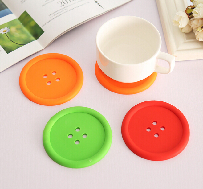 5pcs <font><b>Silicone</b></font> <font><b>Cup</b></font> <font><b>mat</b></font> <font><b>Cute</b></font> Colorful Button <font><b>Cup</b></font> <font><b>Coaster</b></font> <font><b>Cup</b></font> Cushion Holder Drink <font><b>Cup</b></font> Placemat <font><b>Mat</b></font> Pads Coffee Pad