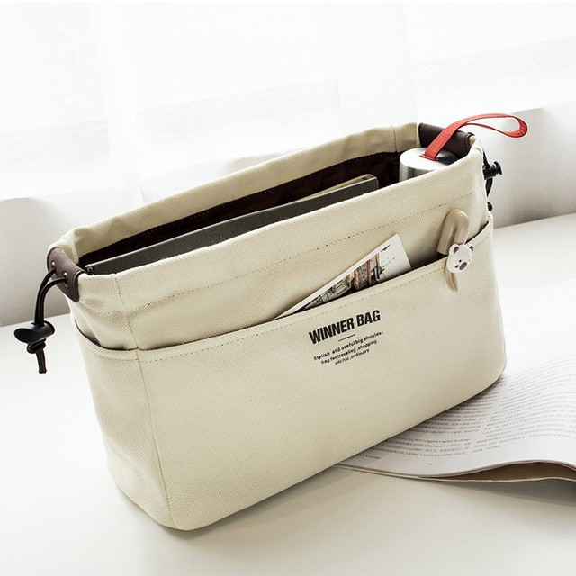 Canvas Purse Organizer Bag Insert With Compartments Makeup Organizer