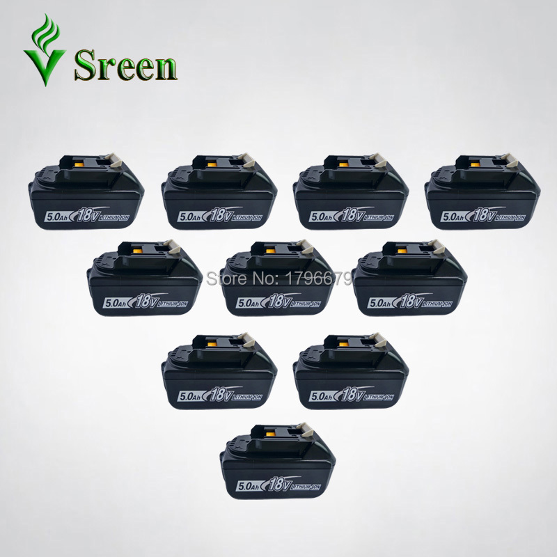 10PCS Really Rechargeable 5000mAh Lithium Ion Power Tool Battery Replacement for Makita 18V BL1850 BL1840 BL1830 LXT Bulk Prices 1pc rechargeable battery for makita 12v pa12 2000mah ni cd replacement power tool battery formakita 1220 1222 1233s ves26 t40