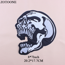 ZOTOONE Embroidery Big Skull Patch Biker Iron On Transfer Punk Patches Stickers For Clothes Jeans Applique Rock Cloth Patch DIY diy punk rock bike patch large embroidery biker patch motorcycle iron on patches for clothes jeans vest jacket back patch h