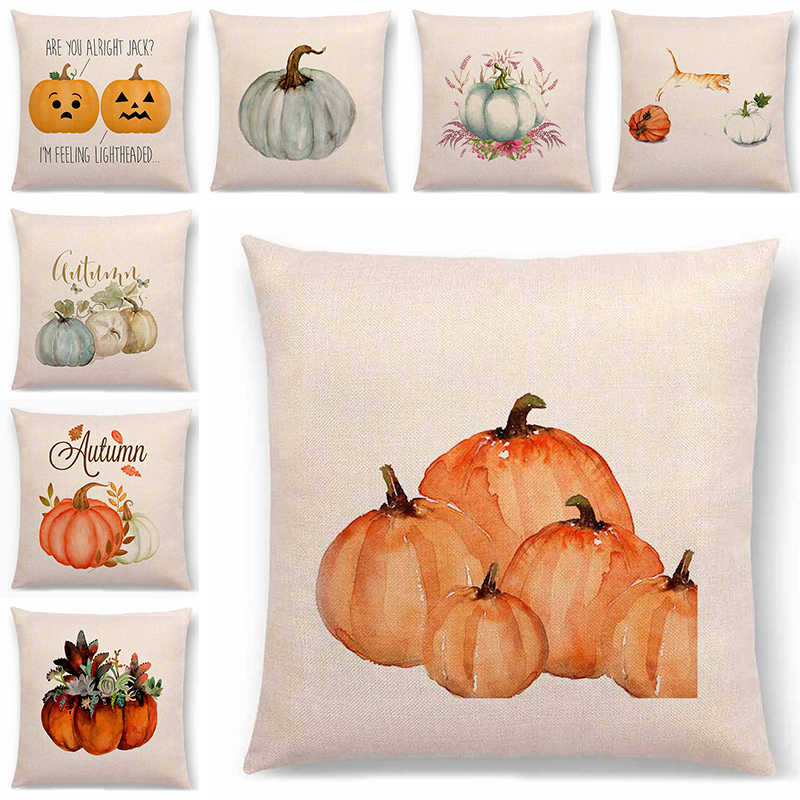 Fall Thanksgiving Day  Pillow Case Turkey Pumpkin Print Happy Halloween Party Decor Pillow Case Cushion cover