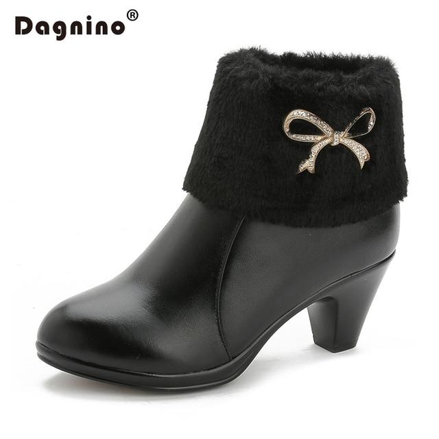 DAGNINO 2017 Genuine Leather High Heel Women Winter Warm Rabbit Hair Rhinestone Short Snow Boots Ankle Shoes Female