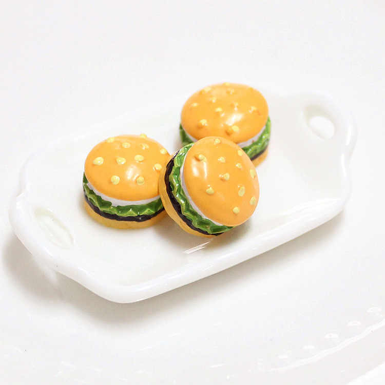 Simulation Mini Cute Burger Addition Slime Supplies Accessories DIY Phone Case Decoration for Slime Filler Miniature Resin Toy E