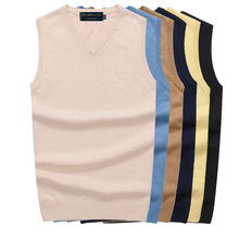 2019 New Pure Color Cotton Sweater Vest Mens Brand Vled Sleeveless ShirtsMens business sweater vest