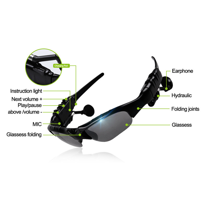 Original Sunglasses Wireless Bluetooth Headphones Smart Glasses Polarized Eyewear Headset For Android / IOS Smart Electronics bluetooth wireless sunglasses w earphone polarized glasses for iphone samsung android ios smartphones black a pair of earphones