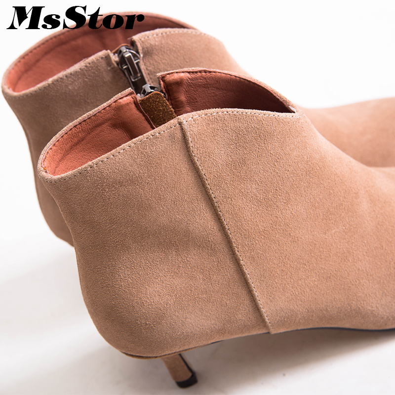 short Zapatos Pie Cremallera Sexy Moda Alto Elegante Del Mujer Casual leather Black short Botines Botas Las Black Brown Tacón Fino Khaki Brown Plush Dedo De leather Khaki Leather Puntiagudo Msstor Mujeres short E178w6q