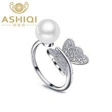 Женское регулируемое кольцо ASHIQI из настоящего серебра 925 пробы с натуральным пресноводным жемчугом и бабочкой