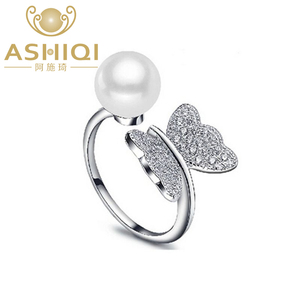 Image 1 - ASHIQI Real 925 Sterling Silver Ring Natural Freshwater Pearl Butterfly Jewelry for Women adjustable