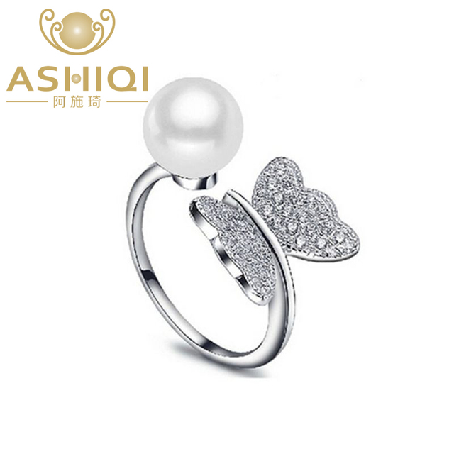 ASHIQI Real 925 Sterling Silver Ring Natural Freshwater Pearl Butterfly Jewelry for Women adjustable