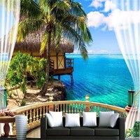 Custom Fashion 3d Big Mural Wallpaper HD Balcony Window Beach Sea Palm Hut Vacation Background Custom