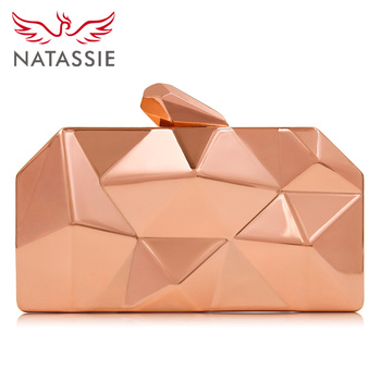 NATASSIE Women Clutch Bag Ladies Evening Clutch Bag Female Metallic Wedding Party Clutch Purses
