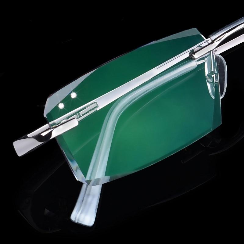 Luxury Eyeglasses Rimless Men Myopia Prescription Eye Glasses Diopter Rhinestone High Clear Lenses gentlemen Reading Eyewear