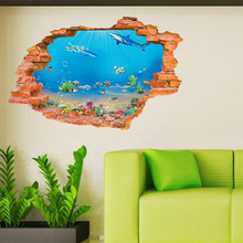 3D Wall Sticker Underwater World PVC Wall Art Wallpaper Decal Mural for Home Kitchen Kid Room Bathroom DIY Home Decoration цена 2017
