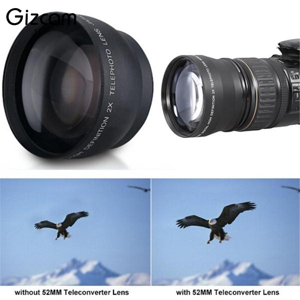 R$ 54 67 20% de desconto Gizcam 52mm 2x Telephoto Lens Converter For Nikon  Profissional D5100 D3200 D70 D40 DSLR Camera Cam Telescópica Len-in Lente