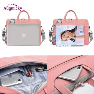 Image 5 - PU Leather women Laptop Bag Notebook Carrying Case Briefcase for Macbook Air 13.3 14 15.6 inch men Handbags shoulder Mouse Bag
