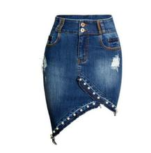 Female Pearl Package Hip Irregular Pearl Denim Skirt Large Size Women Hole Jeans Skirt High Waist Saias Cowboy Denim Skirts K846
