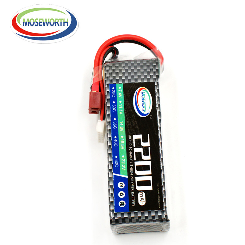 MOSEWORTH RC Lipo Batteria 4S 14.8v 2200mAh 25C For RC Model Aircraft Helicopter Car Boat Quadcopter Li-Polymer Battery 4s 1s 2s 3s 4s 5s 6s 7s 8s lipo battery balance connector for rc model battery esc