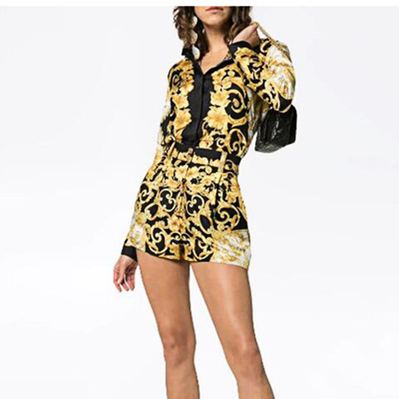 Runway Designer Women Set 2019 Vintage Court Style Black Gold V-neck Print Long-sleeved Shirt + Same High Waist Shorts Clothes