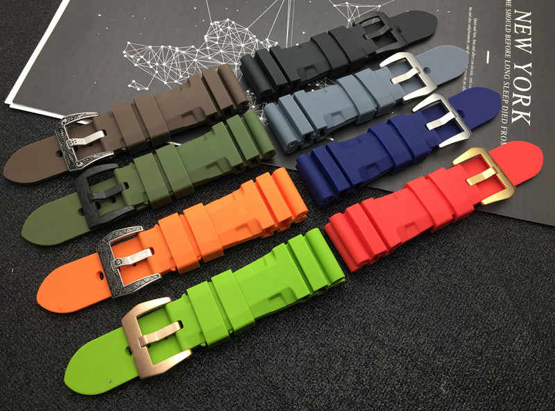 24mm 26mm Black Gray Green Orange Red Blue Brown Silicone Rubber watch band Replace for Panerai strap Watchband Bracelet tools