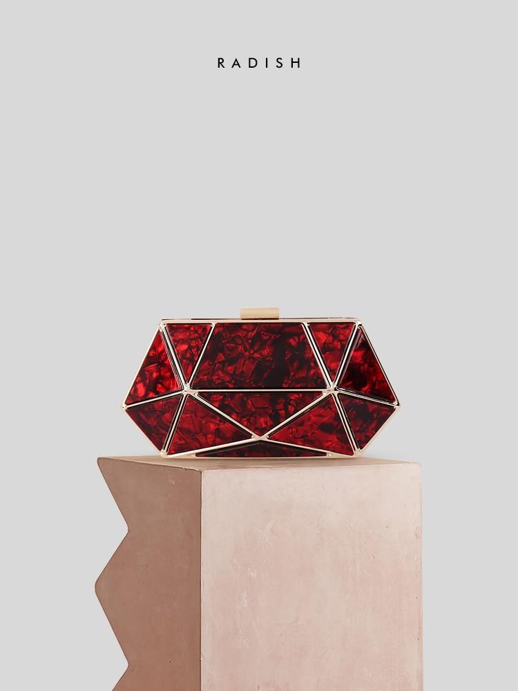 Radis hexagone marbre étui rigide acrylique femmes mode dames soirée dîner sac à main