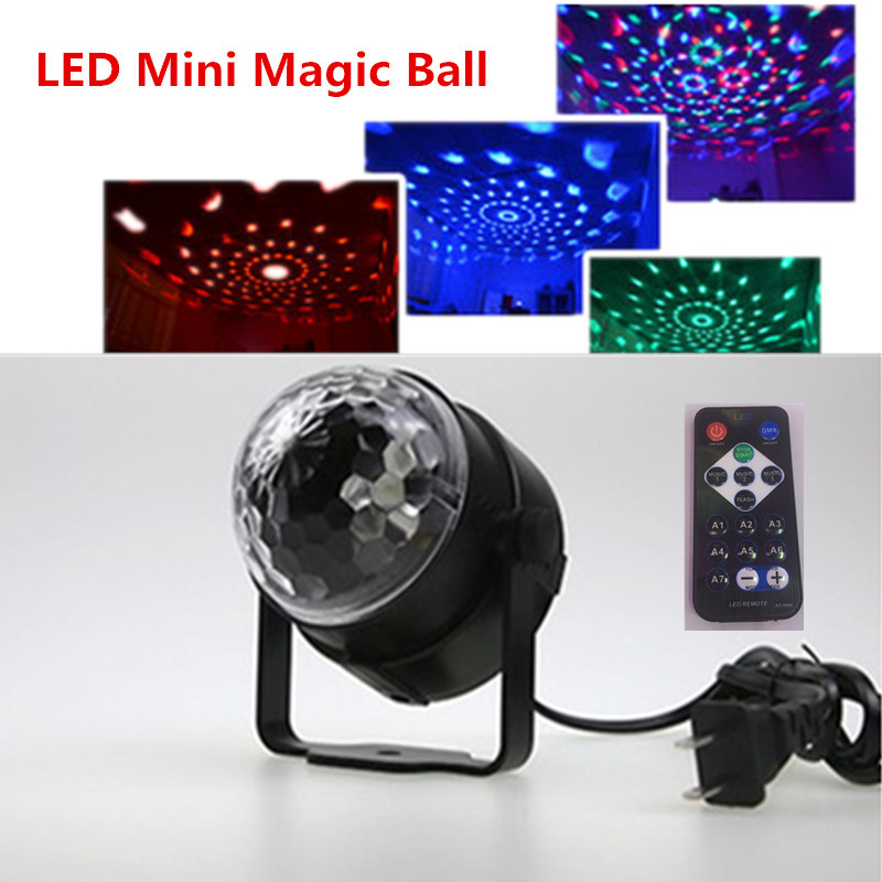 Voice contr  with remote control Mini RGB LED Crystal Magic Ball Stage Effect Lighting Lamp Bulb Party Disco Club DJ Light [mingben] led bulb e27 rgb stage 16 colorful change lamp spotlight 110v 127v 220v home party wedding with ir remote