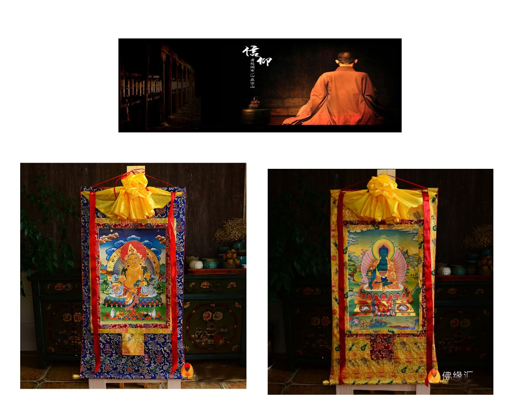 Wholesale Buddhist supplies 2P 87 CM Thang ga Thangka efficacious Protection yellow Jambhala fortune god the