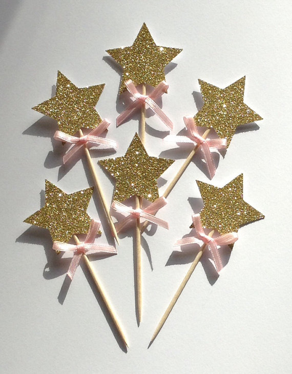 20pcs Gold Star Cupcake Toppers With Pink Bow 1st Birthday Cake Wedding Anniversary In Decorating Supplies From Home