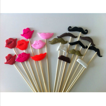 18pcs/lot Photo Booth Props For Party POLYMER CLAY Moustaches and Lips on a stick Decoration Event Party Supplies Mix Colors