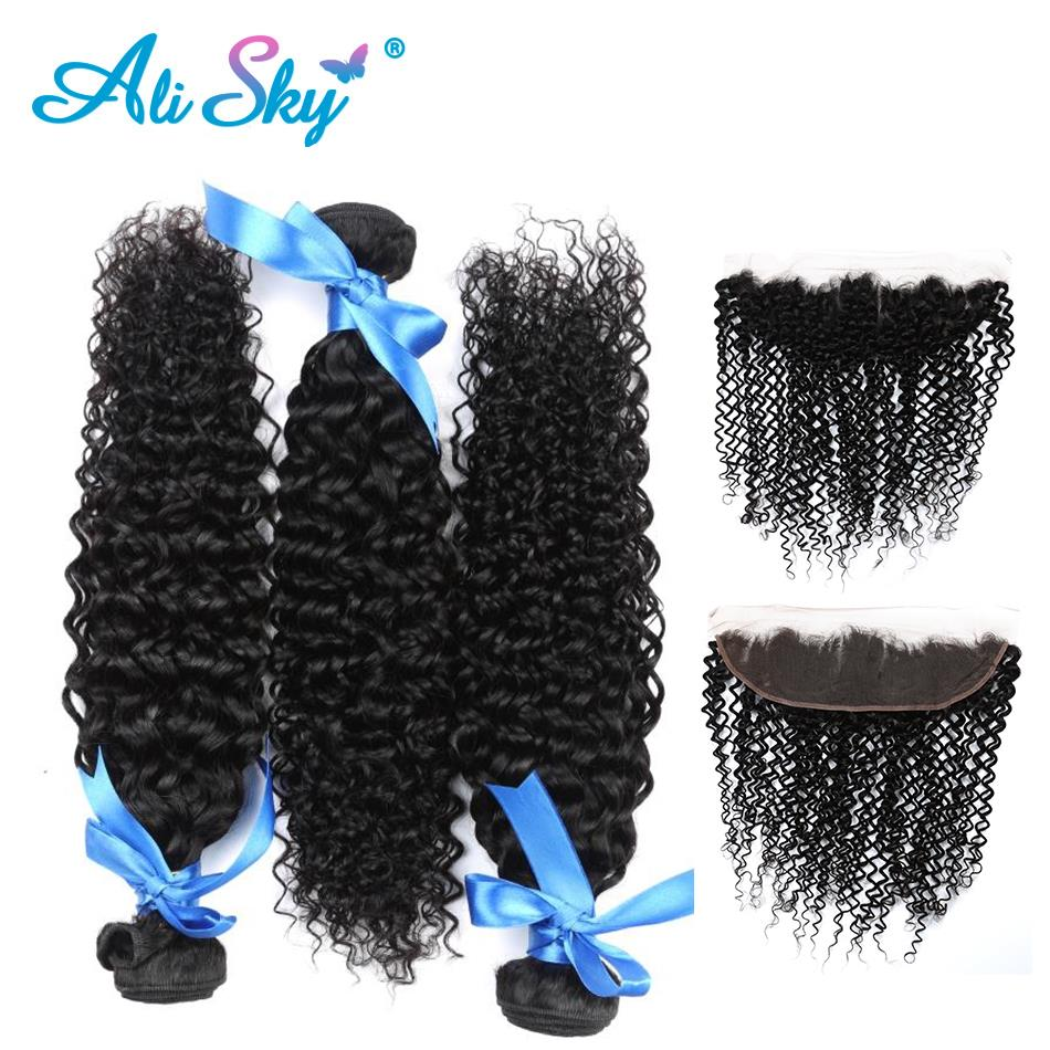 Ali Sky Mongolian Kinky Curly Human Hair Weave 3 Bundles With 13x4 Ear to Ear Free Part Lace Frontal Closure Non remy