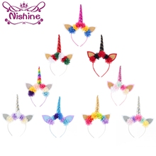 Nishine 10pcs/lot Kids Party Gold/Silver Unicorn Horn Headband Mini Chiffon Flower Girls Headwear Birthday Hairband Gift