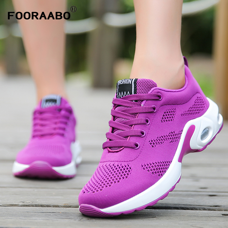 FOORAABO Fashion Brand Women Shoes Autumn Air Mesh Breathable Womens Casual Shoes Non-slip Zapatos Mujer Tenis Feminino Shoes