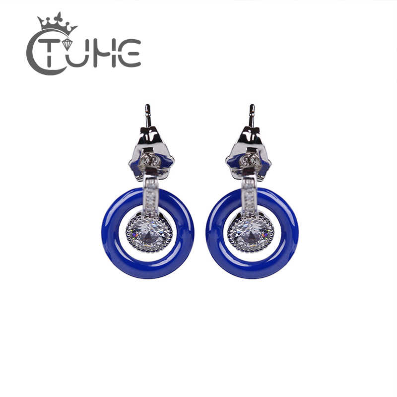 New 585 Silver Color White Crystal Round Tricolor Natural Zircon Blue White Black Ceramic Stud Earrings Women Wedding Party GIft