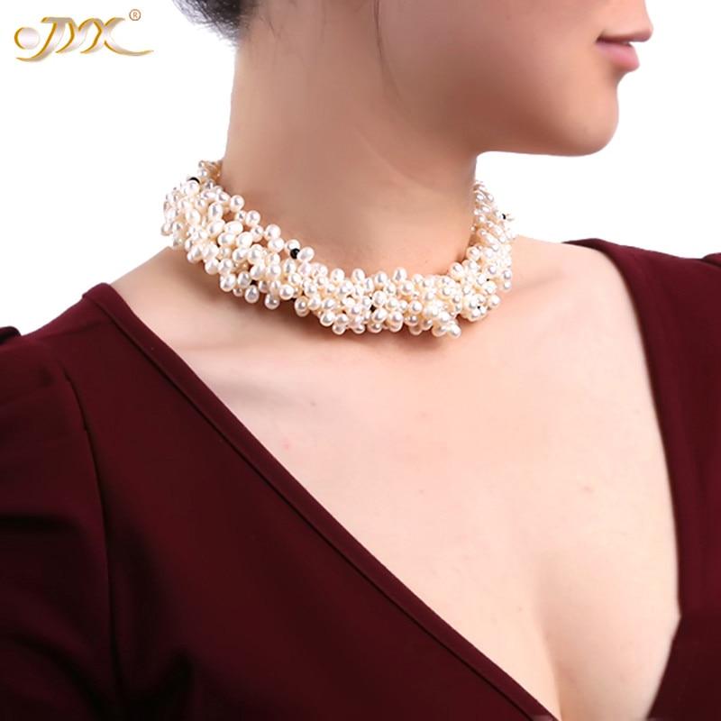 Женское жемчужное ожерелье JYX, классическое ожерелье из нескольких нитей, 4 5 мм, натуральный белый жемчужный чокер с черным агатом, 17 дюймов,