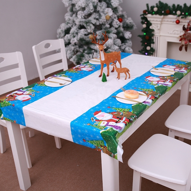 Christmas Watercolor Disposable Tablecloth Kitchen Dining Table Decorations Snowman Deer New Year Party Covers