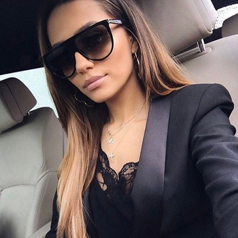SHENGMEIYU Kim Kardashian Sunglasses Woman Vintage Retro Flat Top Thin Shadow Square