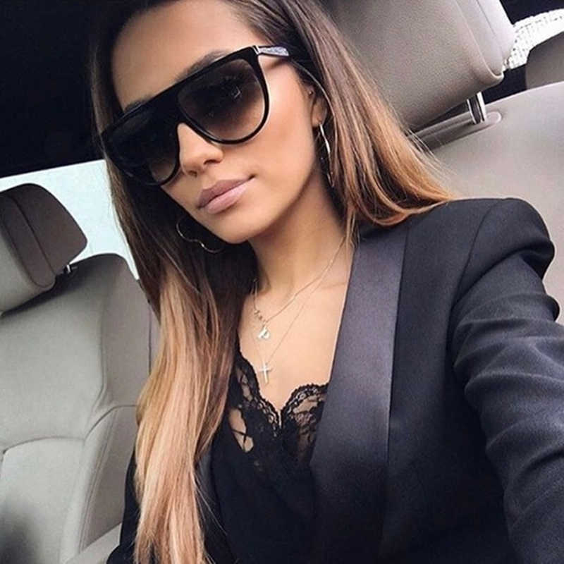 kim kardashian sunglasses woman vintage retro flat top Thin Shadow sun glasses square Pilot luxury designer large black shades