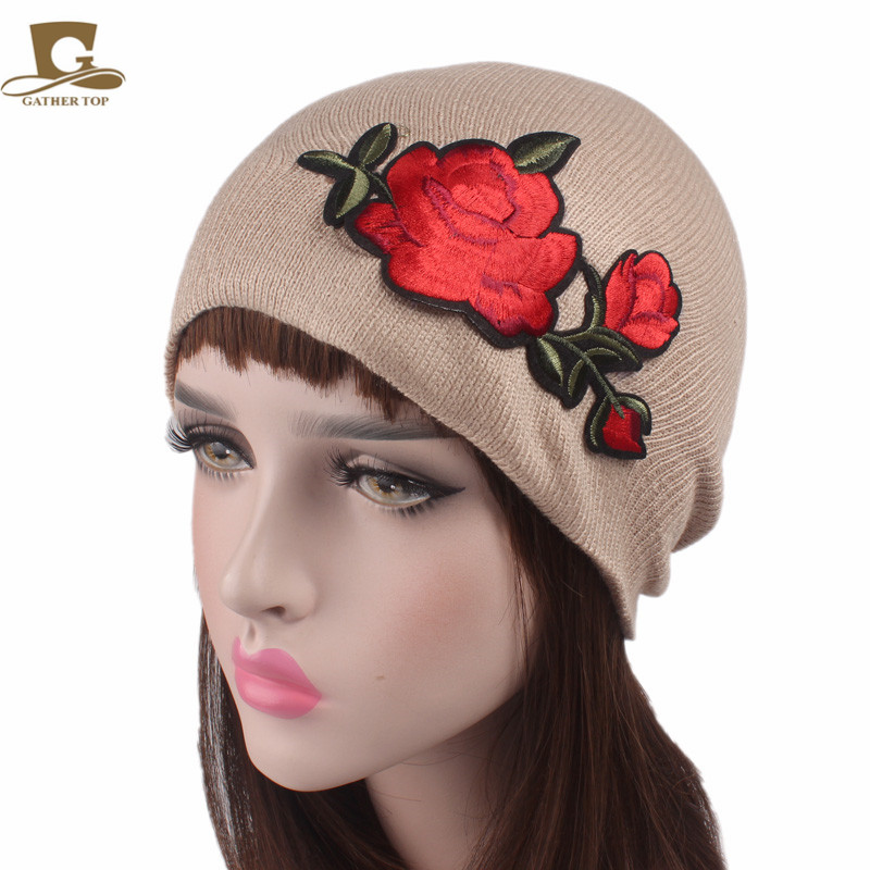 2017 New rose flower emboridery Beanie Hats For Women Winter Knit Beanies Hat Women Turbante Chemo Cancer Hair Loss Cap new cotton slouchy wrinkle cap double flower floral beanie hats for cancer chemo patients
