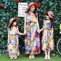 Новый 2017 мать дочь платья семья посмотрите девушка и мать летние каникулы бабочка платья макси лонг чешские пляж платье