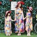 new 2017 mother daughter dresses family look girl and mother summer holiday butterfly maxi dresses long bohemian beach dress