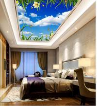 Blue and white flowers green leaves ceilings Landscape wallpaper murals ceiling 3d wallpaper nature(China)