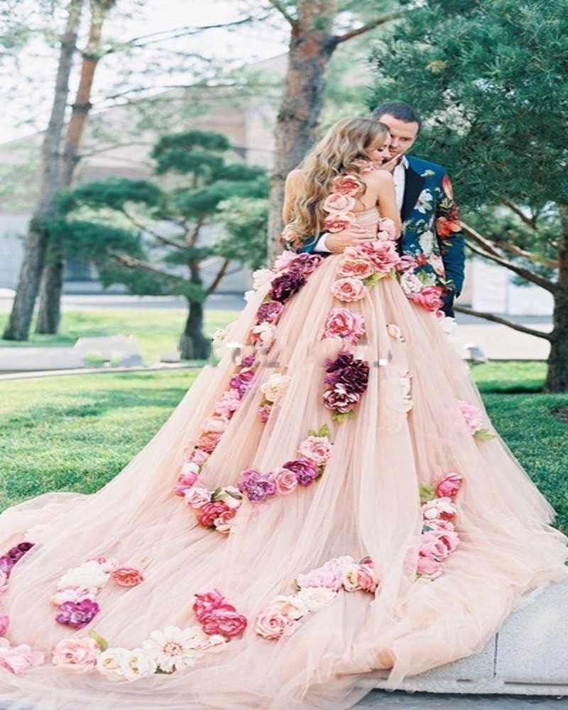 vintage-Pink-Flowers-Wedding-Dress-2016-Sexy-One-shoulde-Tulle-Custom-Made-Ball-Gown-Bridal-Dresses